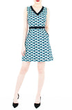 Waves of Fun 60s Mod A-Line Dress - Aqua