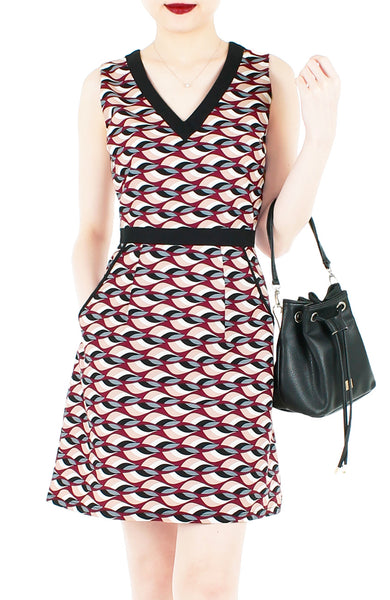 Waves of Fun 60s Mod A-Line Dress - Auburn Red