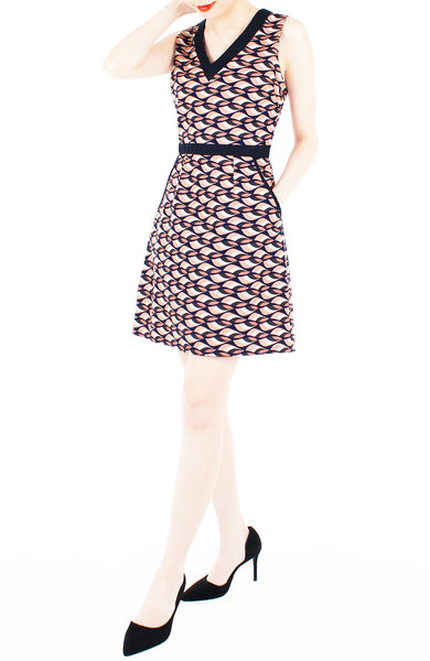 Waves of Fun 60s Mod A-Line Dress - Peach