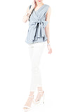 Whispered Wisdom Bow Blouse - Baby Blue