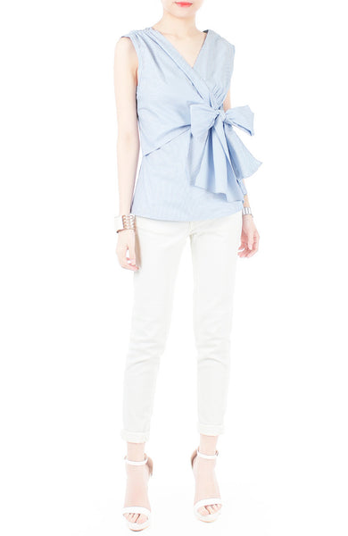 Whispered Wisdom Bow Blouse - Blue Stripes