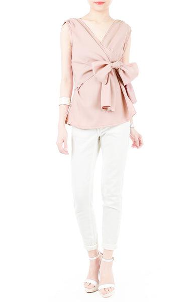 Whispered Wisdom Bow Blouse - Dusty Pink