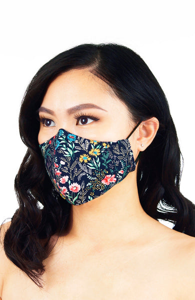 Wildflower Fields Pure Cotton Face Mask - Midnight Blue