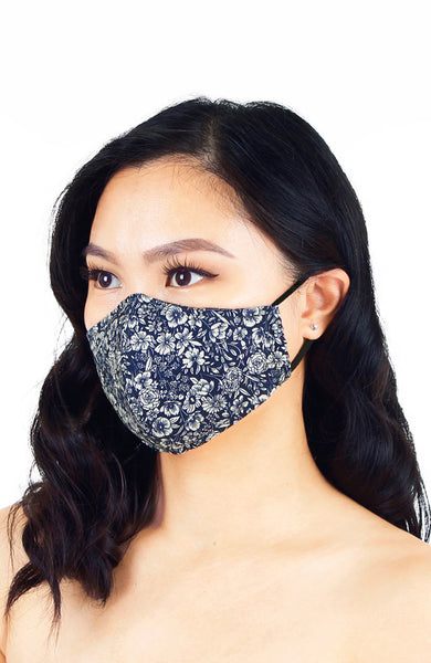 Wiltshire Gardens Pure Cotton Face Mask - Midnight Blue