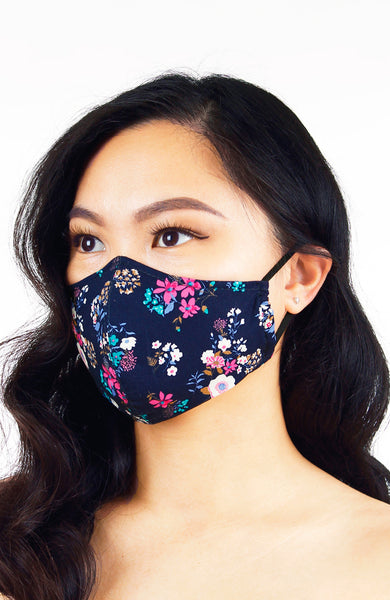 Winter Blooms Pure Cotton Face Mask - Midnight Blue