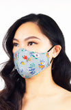 Winter Blooms Pure Cotton Face Mask - Prelude Grey
