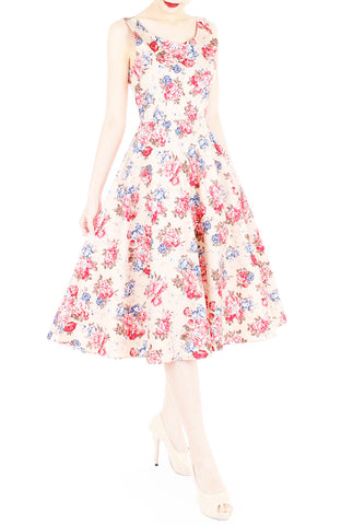 Wishing & Wowing Rose Flare Midi Dress (Longer Length)