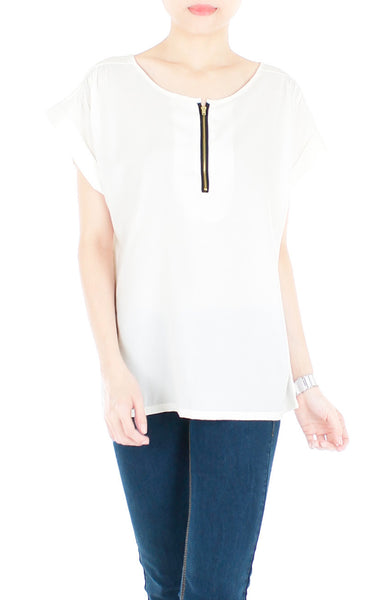 Zip that Memory Blouse - White