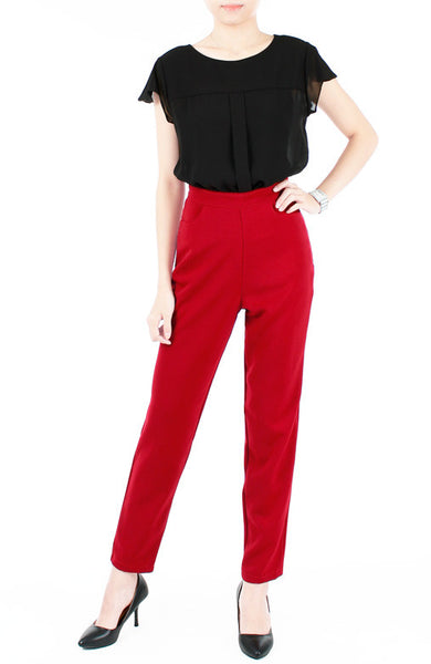A Chic Start Tailored Pants - Red