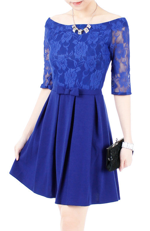 5697e923522e Aperitif Dreams Off Shoulder Lace Flare Dress - Cobalt Blue at ...