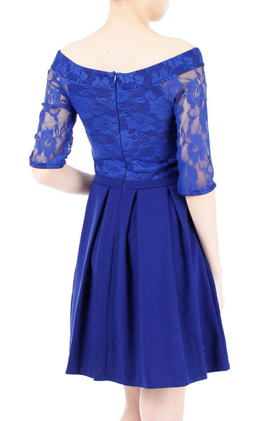 Aperitif Dreams Off Shoulder Lace Flare Dress - Cobalt Blue