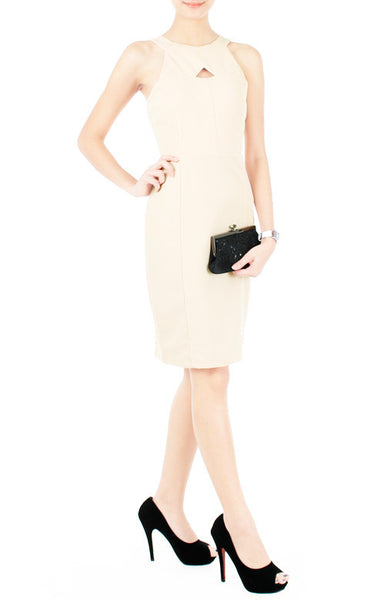 Athena Cutout Cocktail Dress - Cream