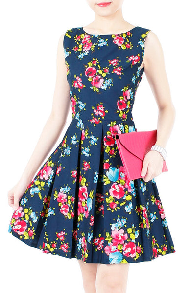 Budding Artist Flare Dress - Dark Blue