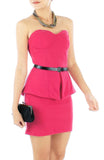 Bustier Peplum Mini Dress - Candy Pink