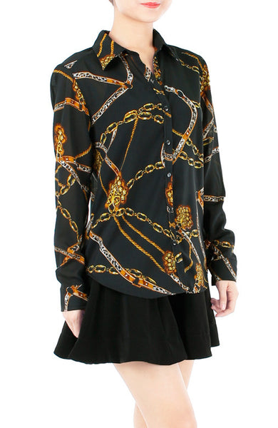 Chain Of Events Long Sleeve Blouse - Black