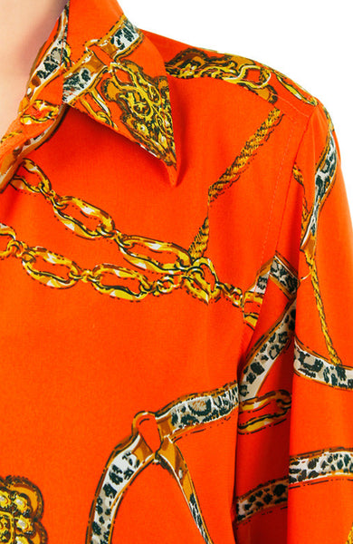 Chain Of Events Long Sleeve Blouse - Sunset Orange