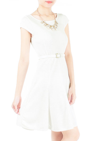 Demure Darling Knitted Flare Dress - White