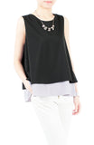Double Trouble Trapeze Blouse - Black