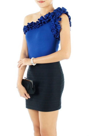 Duchess Ruffle One Shoulder Top - Royal Blue