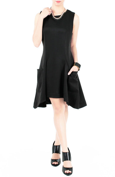 Edge Of The Night Dress With Pockets - Black