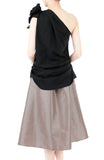 Elegance Bow One-shouldered Top - Black