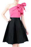 Elegance Bow One-Shouldered Top - Seashell Pink