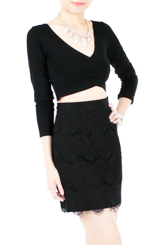 Exquisite Elegant Lace Pencil Skirt - Black