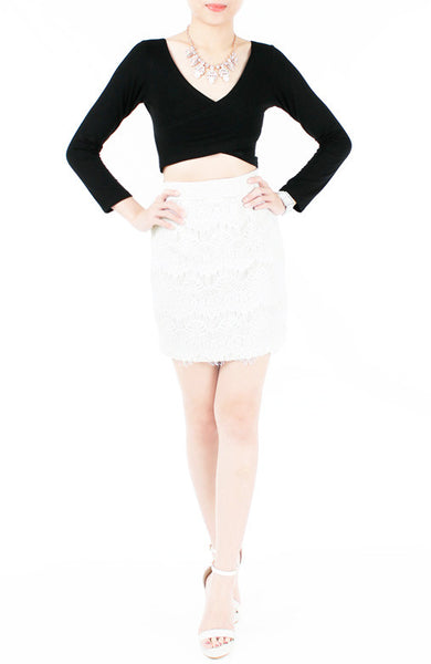 Exquisite Elegant Lace Pencil Skirt - White
