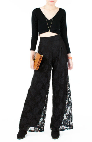Fall In Love Lace Palazzo Pants - Black