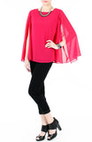 Fleur Cape Long Sleeve Blouse - Rose Pink