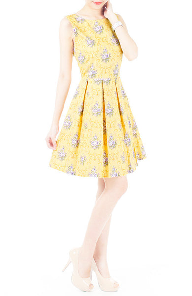Flourish Ornaments Bouquet Flare Dress - Yellow