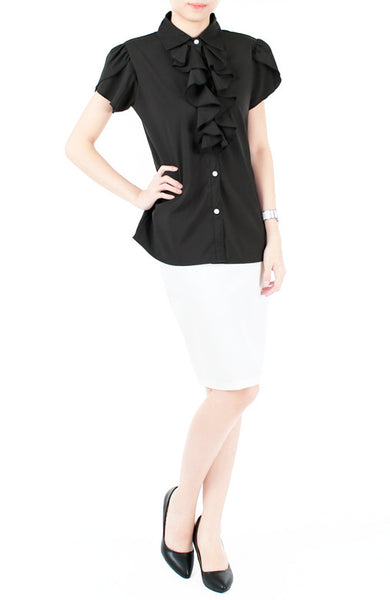 Flutterby Tulip Work Blouse - Black