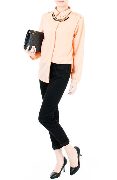 Gentle Sentiment Long Sleeved Shirt - Peach