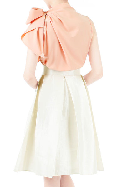 Great Grandeur Satin Skirt - Pearl