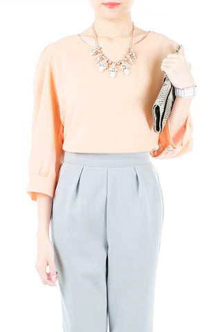 Hearts On Your Peekaboo Sleeves Blouse - Peach