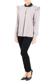 Hidden Secrets Long Sleeve Blouse - Lilac Gray