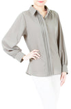 Inspired Endeavors Pintuck Work Blouse - Gray