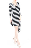 Jetset Asymmetrical Stripe Dress - Black & White