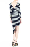 Jetset Asymmetrical Stripe Dress - Navy & Grey