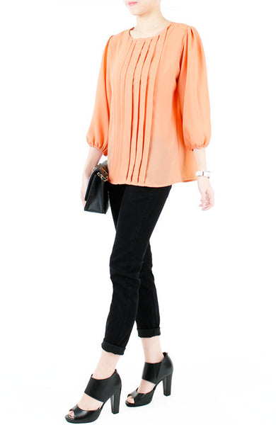 Let Me Pintuck It Blouse - Pastel Orange