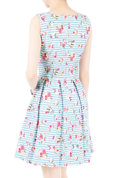 Little Tea Party Flare Dress - Sweet Blue