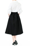 Magnificence Satin Flare Midi Skirt - Black