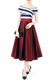 Magnificence Satin Flare Midi Skirt - Ruby Red