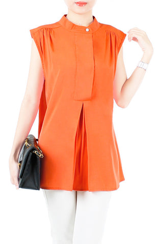 Mandarin Manor Long Blouse - Orange