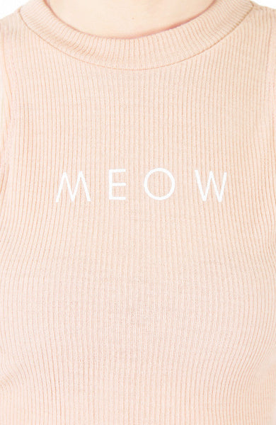 'MEOW' Enforcement Ribbed Crop Top - Baby Pink