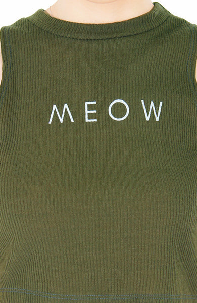 'MEOW' Enforcement Ribbed Crop Top - Olive Green