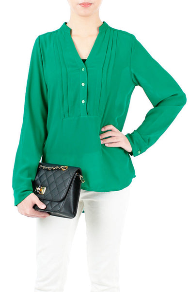 Mind Your Business Button Shirt - Emerald Green