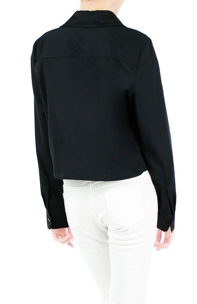 Mind Your Business Cropped Boyfriend Shirt - Black