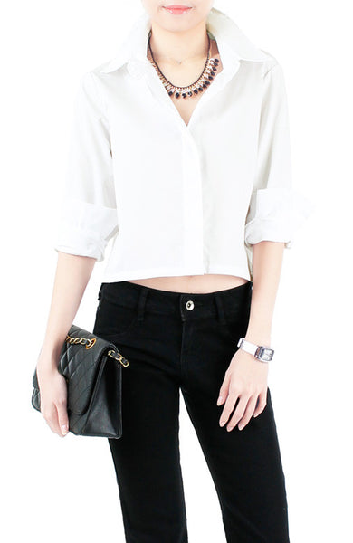 Mind Your Business Cropped Boyfriend Shirt - White