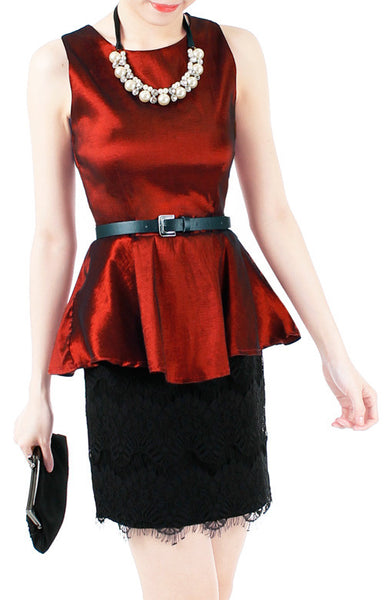 Mirror Magnificence Satin Top - Regal Red